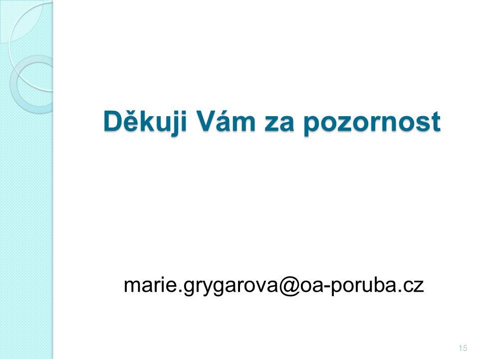 Děkuji Vám za pozornost Děkuji Vám za pozornost marie.grygarova@oa-poruba.cz 15