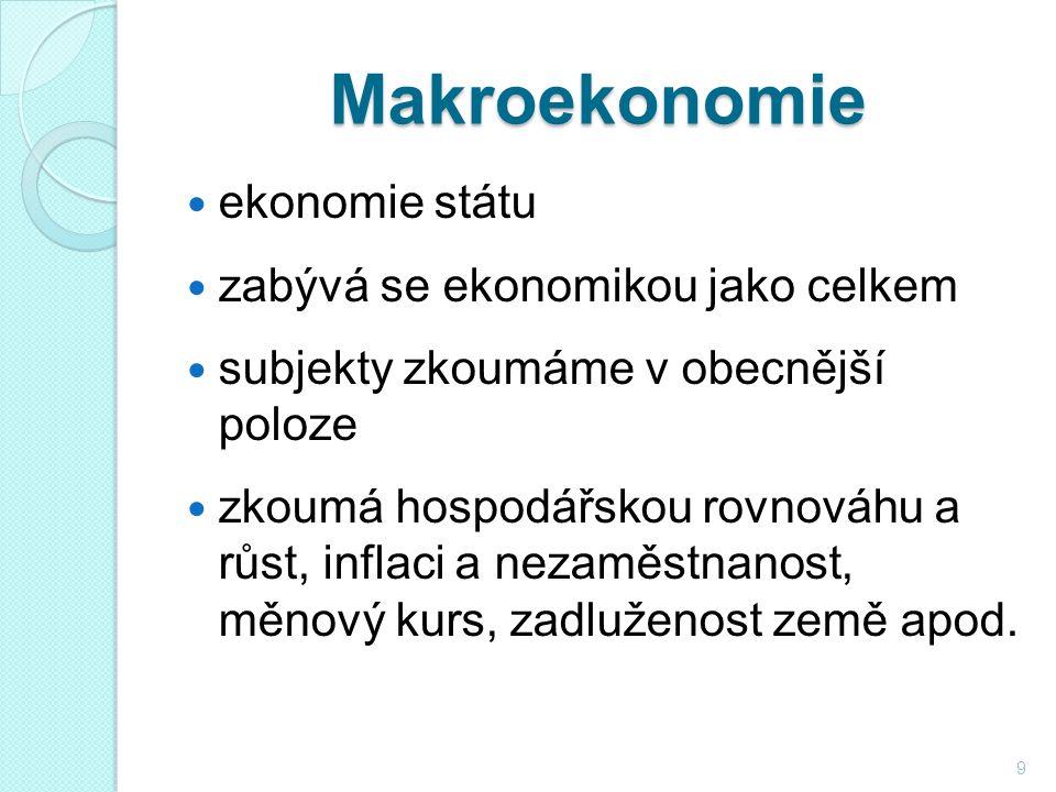 Makroekonomie ekonomie státu zabývá se ekonomikou jako celkem subjekty zkoumáme v obecnější poloze zkoumá hospodářskou rovnováhu a růst, inflaci a nezaměstnanost, měnový kurs, zadluženost země apod.