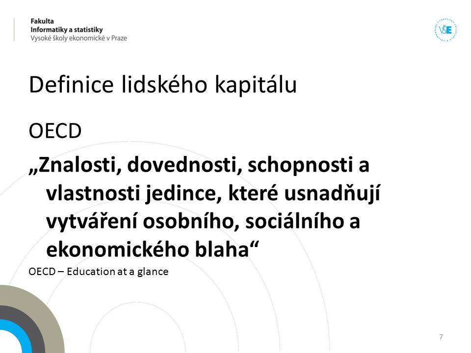 """Definice lidského kapitálu OECD """"Znalosti, dovednosti, schopnosti a vlastnosti jedince, které usnadňují vytváření osobního, sociálního a ekonomického"""