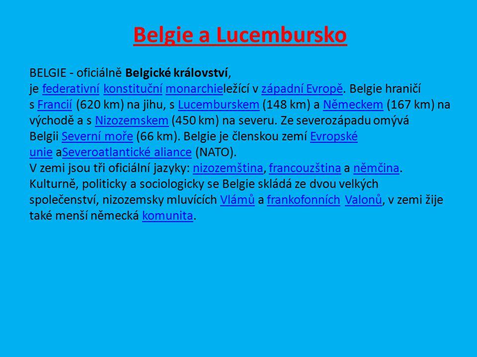 Belgie a Lucembursko BELGIE - oficiálně Belgické království, je federativní konstituční monarchieležící v západní Evropě. Belgie hraničí s Francií (62