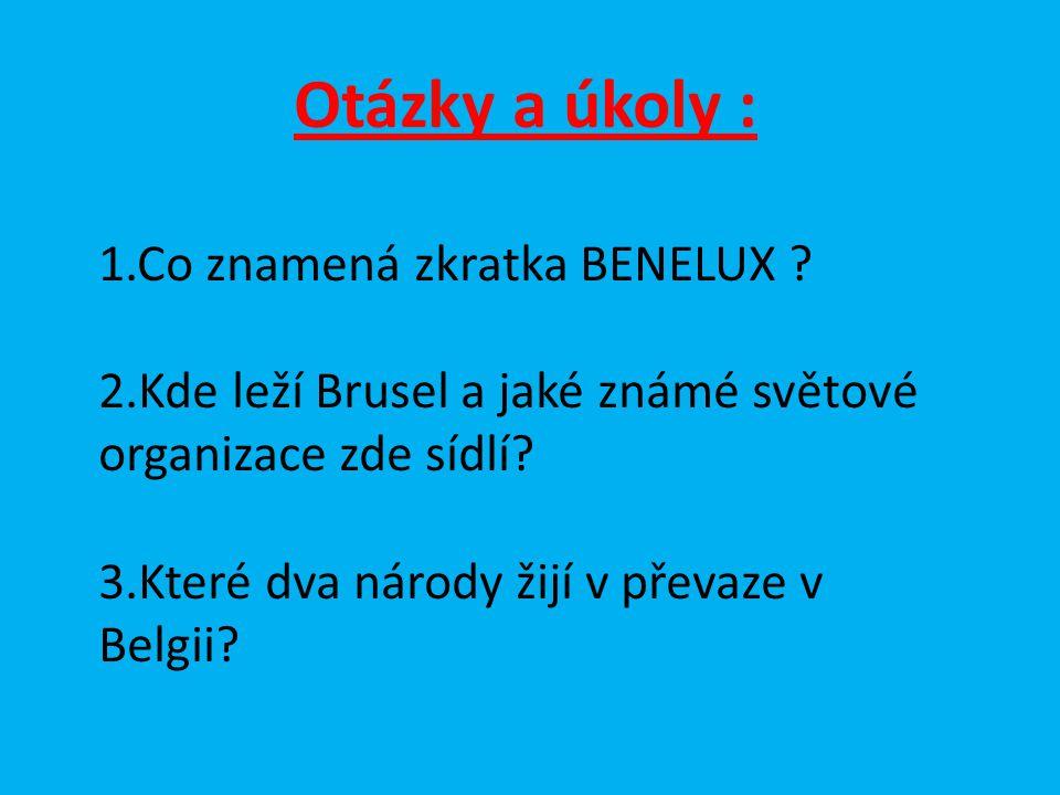 Otázky a úkoly : 1.Co znamená zkratka BENELUX ? 2.Kde leží Brusel a jaké známé světové organizace zde sídlí? 3.Které dva národy žijí v převaze v Belgi