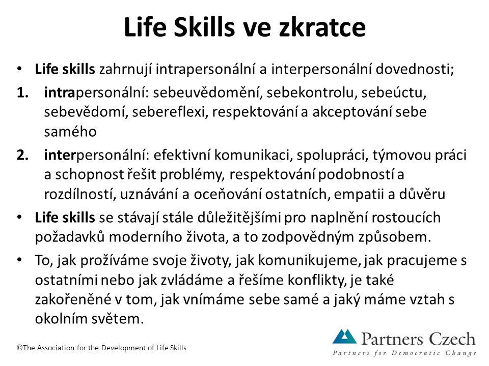 Life Skills ve zkratce Life skills zahrnují intrapersonální a interpersonální dovednosti; 1.intrapersonální: sebeuvědomění, sebekontrolu, sebeúctu, sebevědomí, sebereflexi, respektování a akceptování sebe samého 2.interpersonální: efektivní komunikaci, spolupráci, týmovou práci a schopnost řešit problémy, respektování podobností a rozdílností, uznávání a oceňování ostatních, empatii a důvěru Life skills se stávají stále důležitějšími pro naplnění rostoucích požadavků moderního života, a to zodpovědným způsobem.
