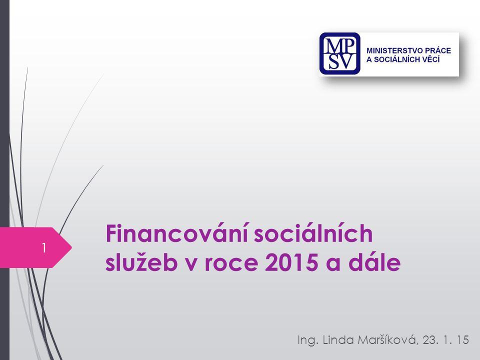 Financování sociálních služeb v roce 2015 a dále Ing. Linda Maršíková, 23. 1. 15 1