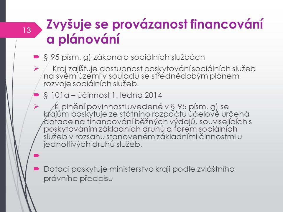 Zvyšuje se provázanost financování a plánování  § 95 písm. g) zákona o sociálních službách  Kraj zajišťuje dostupnost poskytování sociálních služeb