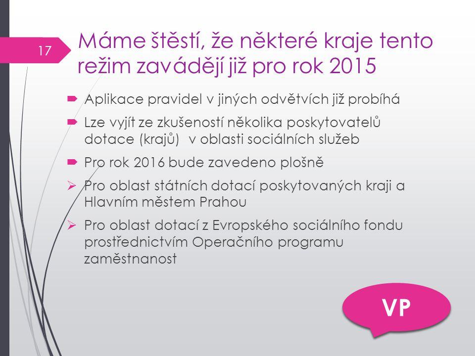 Máme štěstí, že některé kraje tento režim zavádějí již pro rok 2015  Aplikace pravidel v jiných odvětvích již probíhá  Lze vyjít ze zkušeností několika poskytovatelů dotace (krajů) v oblasti sociálních služeb  Pro rok 2016 bude zavedeno plošně  Pro oblast státních dotací poskytovaných kraji a Hlavním městem Prahou  Pro oblast dotací z Evropského sociálního fondu prostřednictvím Operačního programu zaměstnanost VP 17