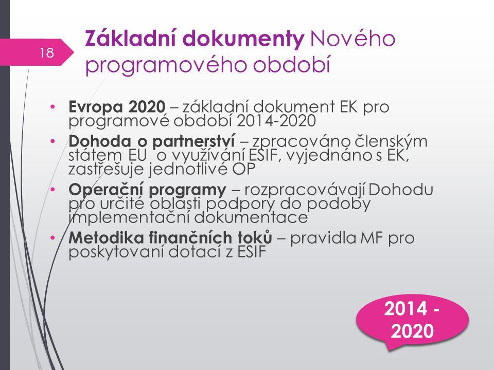 Základní dokumenty Nového programového období Evropa 2020 – základní dokument EK pro programové období 2014-2020 Dohoda o partnerství – zpracováno členským státem EU o využívání ESIF, vyjednáno s EK, zastřešuje jednotlivé OP Operační programy – rozpracovávají Dohodu pro určité oblasti podpory do podoby implementační dokumentace Metodika finančních toků – pravidla MF pro poskytovaní dotací z ESIF 2014 - 2020 18