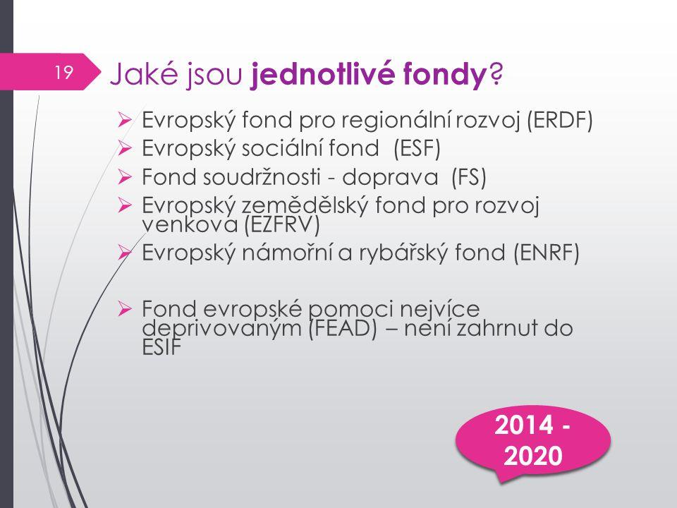 Jaké jsou jednotlivé fondy ?  Evropský fond pro regionální rozvoj (ERDF)  Evropský sociální fond (ESF)  Fond soudržnosti - doprava (FS)  Evropský