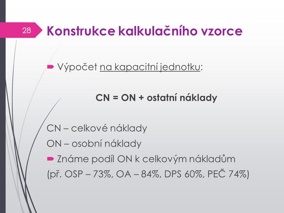 Konstrukce kalkulačního vzorce  Výpočet na kapacitní jednotku: CN = ON + ostatní náklady CN – celkové náklady ON – osobní náklady  Známe podíl ON k celkovým nákladům (př.