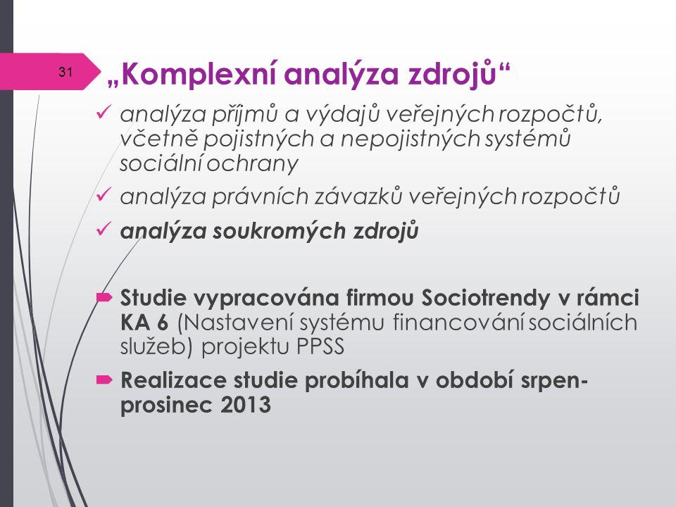 """""""Komplexní analýza zdrojů analýza příjmů a výdajů veřejných rozpočtů, včetně pojistných a nepojistných systémů sociální ochrany analýza právních závazků veřejných rozpočtů analýza soukromých zdrojů  Studie vypracována firmou Sociotrendy v rámci KA 6 (Nastavení systému financování sociálních služeb) projektu PPSS  Realizace studie probíhala v období srpen- prosinec 2013 31"""