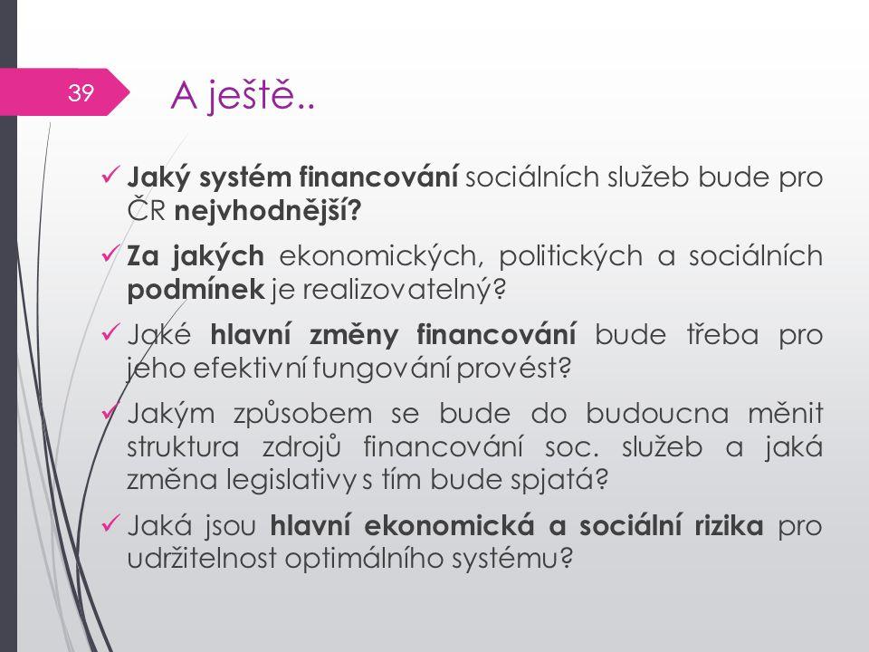 A ještě.. Jaký systém financování sociálních služeb bude pro ČR nejvhodnější? Za jakých ekonomických, politických a sociálních podmínek je realizovate