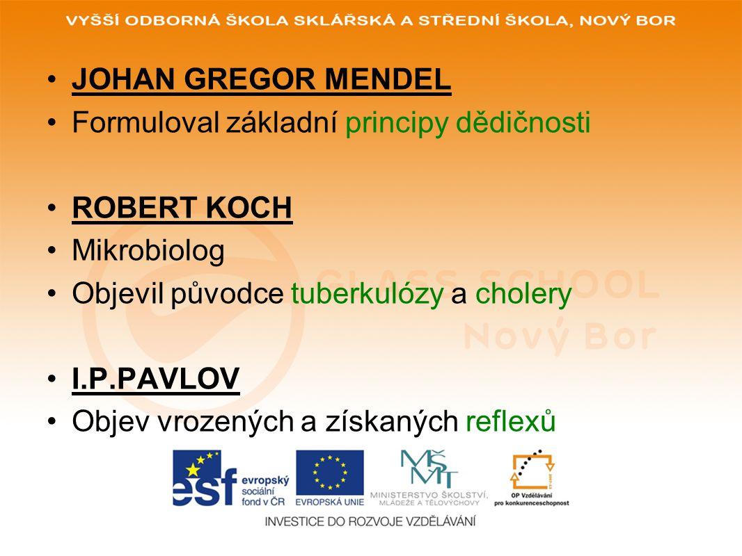JOHAN GREGOR MENDEL Formuloval základní principy dědičnosti ROBERT KOCH Mikrobiolog Objevil původce tuberkulózy a cholery I.P.PAVLOV Objev vrozených a