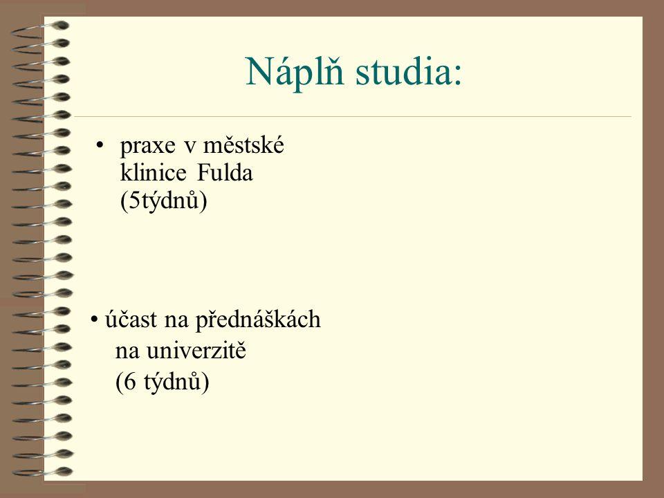 Náplň studia: praxe v městské klinice Fulda (5týdnů) účast na přednáškách na univerzitě (6 týdnů)