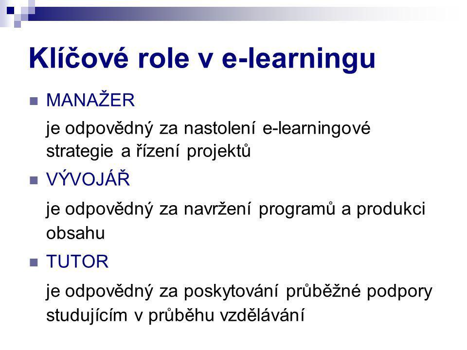 Klíčové role v e-learningu MANAŽER je odpovědný za nastolení e-learningové strategie a řízení projektů VÝVOJÁŘ je odpovědný za navržení programů a produkci obsahu TUTOR je odpovědný za poskytování průběžné podpory studujícím v průběhu vzdělávání