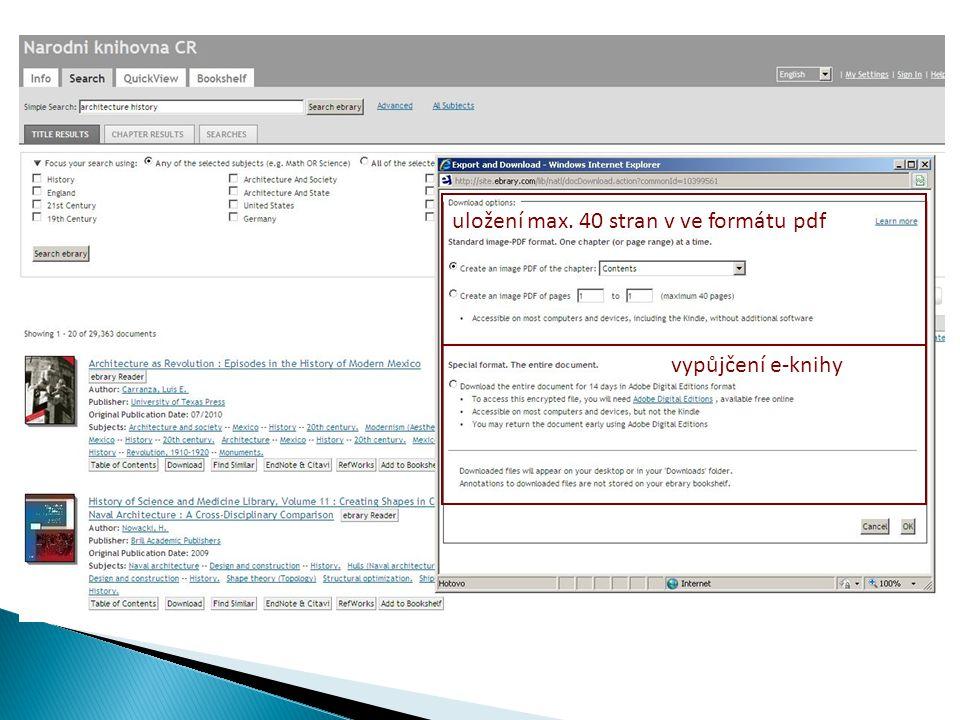 vypůjčení e-knihy uložení max. 40 stran v ve formátu pdf