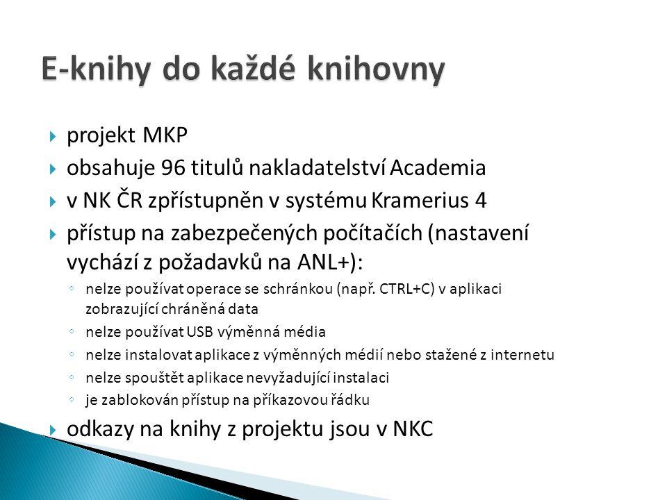  projekt MKP  obsahuje 96 titulů nakladatelství Academia  v NK ČR zpřístupněn v systému Kramerius 4  přístup na zabezpečených počítačích (nastaven