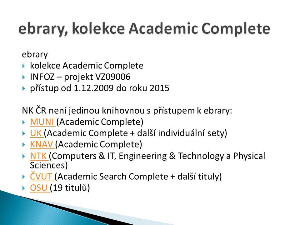 ebrary  kolekce Academic Complete  INFOZ – projekt VZ09006  přístup od 1.12.2009 do roku 2015 NK ČR není jedinou knihovnou s přístupem k ebrary: 