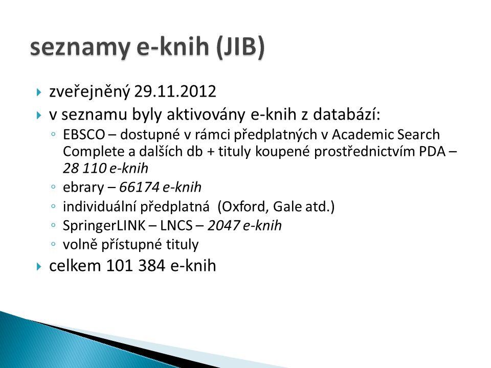  zveřejněný 29.11.2012  v seznamu byly aktivovány e-knih z databází: ◦ EBSCO – dostupné v rámci předplatných v Academic Search Complete a dalších db