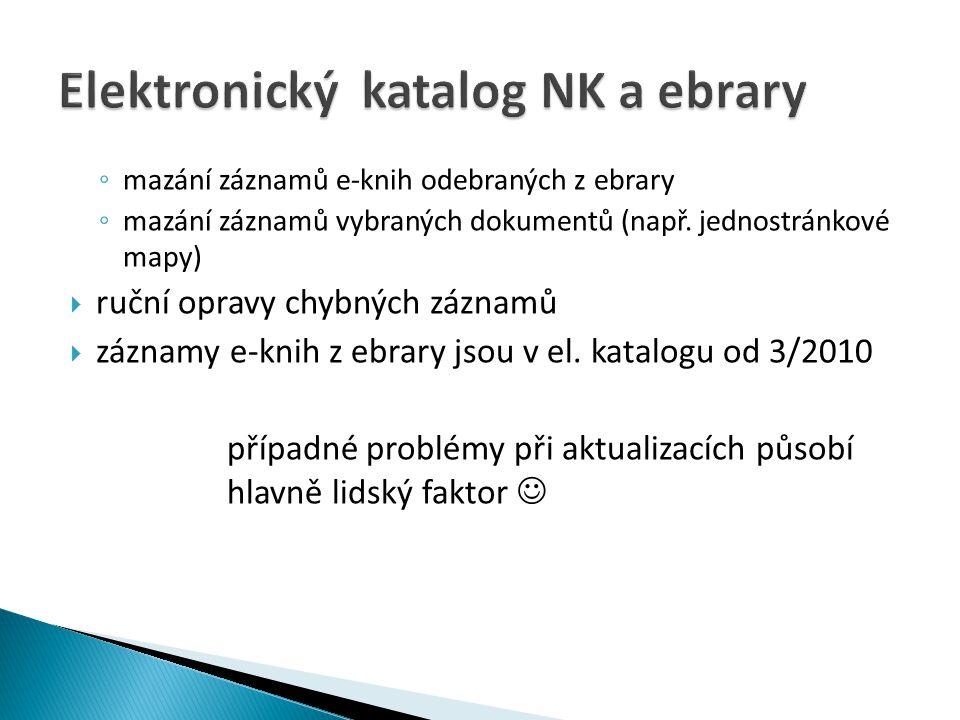  Absenční výpůjčky: ◦ pro čtenáře starší 18 let s trvalým pobytem v ČR ◦ čtenář musí být v den výpůjčky registrován v NK alespoň rok, musí mít vyrovnané veškeré závazky vůči NK ◦ lhůta 14 dní – původně bez možnosti prodloužení, pouze nová výpůjčka, nyní již lze prodlužovat, nejdéle na dobu 8 týdnů ◦ poplatek z prodlení 10,- Kc/den  Prezenční výpůjčky ◦ registrovaný uživatel ◦ nevýše na 4 hodiny nebo do konce provozní doby