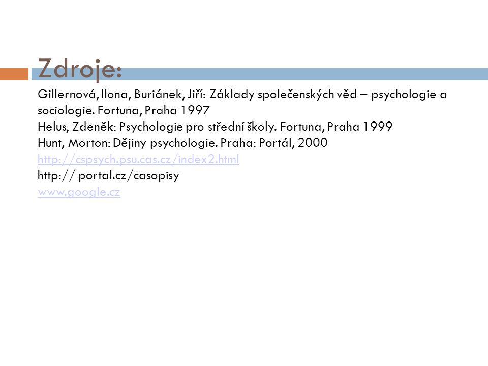 Zdroje: Gillernová, Ilona, Buriánek, Jiří: Základy společenských věd – psychologie a sociologie. Fortuna, Praha 1997 Helus, Zdeněk: Psychologie pro st