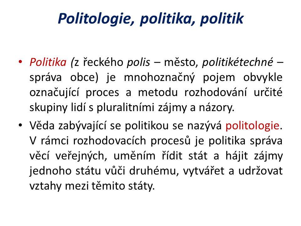 Politologie, politika, politik Politika (z řeckého polis – město, politikétechné – správa obce) je mnohoznačný pojem obvykle označující proces a metodu rozhodování určité skupiny lidí s pluralitními zájmy a názory.