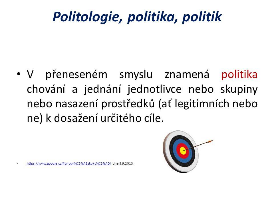 Politologie, politika, politik V přeneseném smyslu znamená politika chování a jednání jednotlivce nebo skupiny nebo nasazení prostředků (ať legitimních nebo ne) k dosažení určitého cíle.