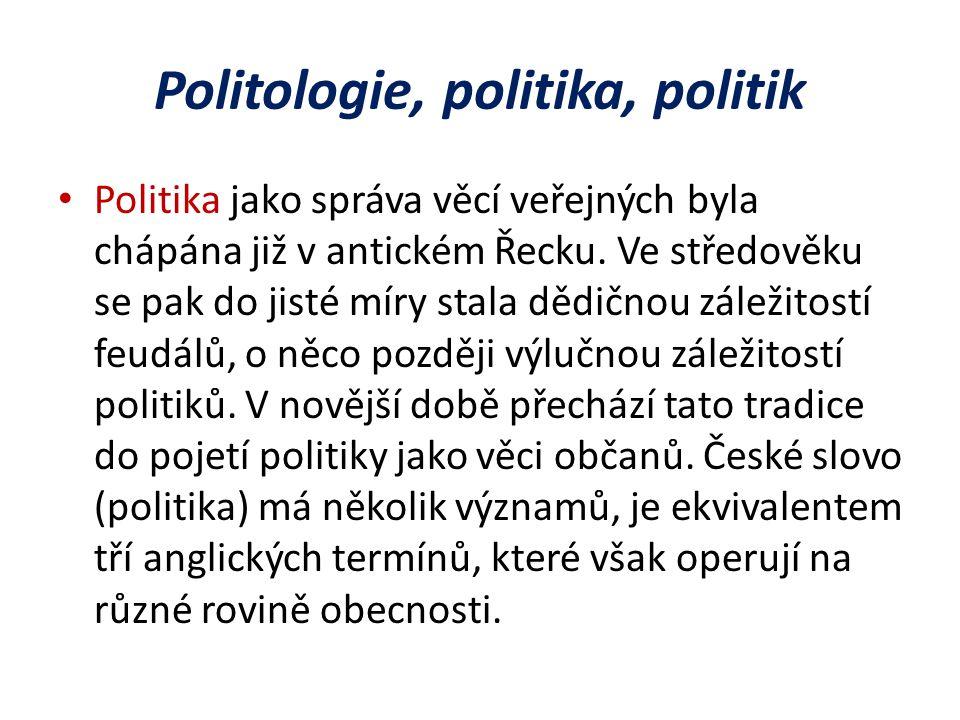 Politologie, politika, politik Politika jako správa věcí veřejných byla chápána již v antickém Řecku.