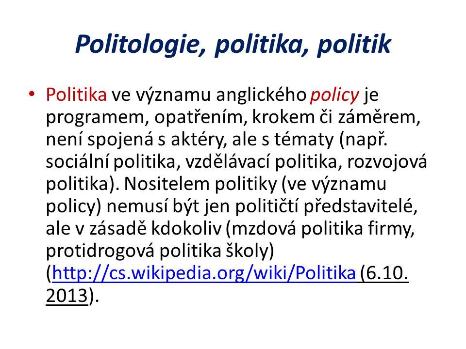 Politologie, politika, politik Politika ve významu anglického policy je programem, opatřením, krokem či záměrem, není spojená s aktéry, ale s tématy (např.