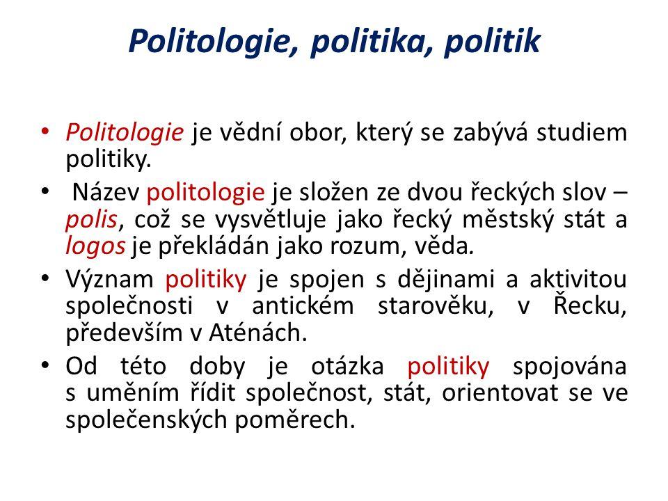 Politologie, politika, politik Politologie je vědní obor, který se zabývá studiem politiky.