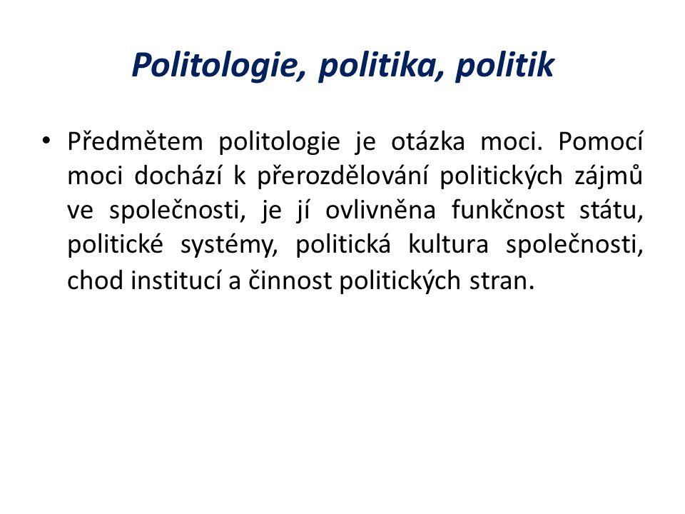 Politologie, politika, politik Předmětem politologie je otázka moci.