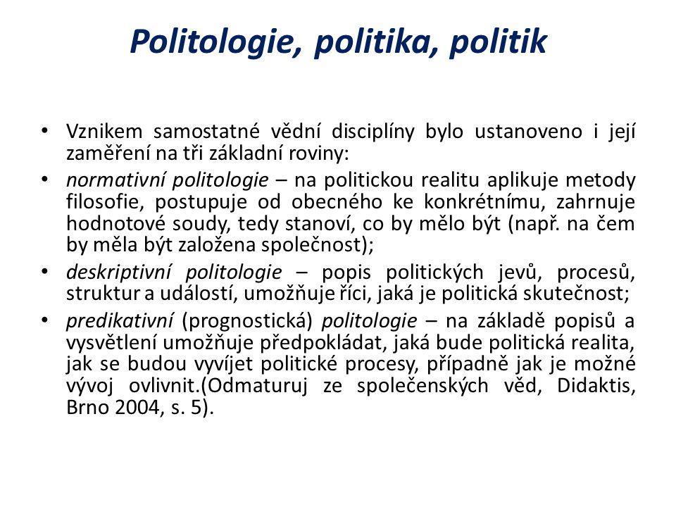 Politologie, politika, politik Vznikem samostatné vědní disciplíny bylo ustanoveno i její zaměření na tři základní roviny: normativní politologie – na politickou realitu aplikuje metody filosofie, postupuje od obecného ke konkrétnímu, zahrnuje hodnotové soudy, tedy stanoví, co by mělo být (např.
