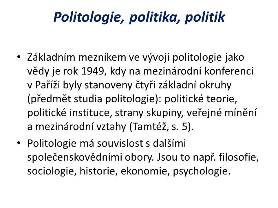 Politologie, politika, politik Základním mezníkem ve vývoji politologie jako vědy je rok 1949, kdy na mezinárodní konferenci v Paříži byly stanoveny čtyři základní okruhy (předmět studia politologie): politické teorie, politické instituce, strany skupiny, veřejné mínění a mezinárodní vztahy (Tamtéž, s.
