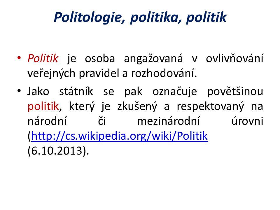Politologie, politika, politik Politik je osoba angažovaná v ovlivňování veřejných pravidel a rozhodování.