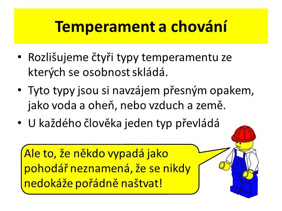 Temperament a chování Rozlišujeme čtyři typy temperamentu ze kterých se osobnost skládá. Tyto typy jsou si navzájem přesným opakem, jako voda a oheň,