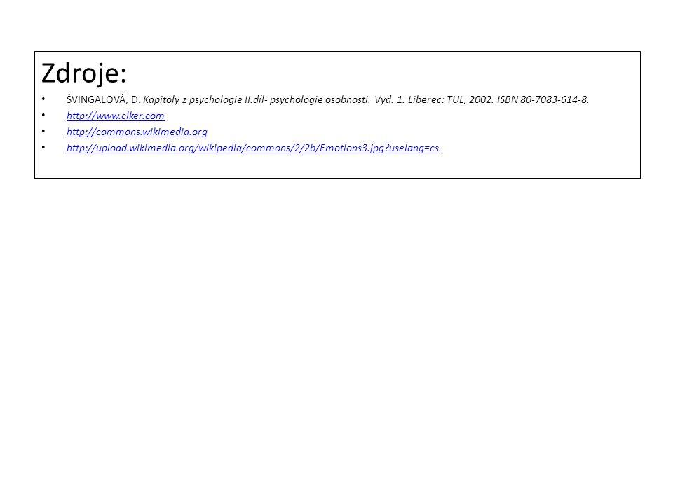 Zdroje: ŠVINGALOVÁ, D. Kapitoly z psychologie II.díl- psychologie osobnosti. Vyd. 1. Liberec: TUL, 2002. ISBN 80-7083-614-8. http://www.clker.com http
