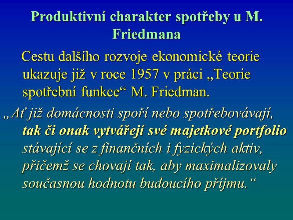 """Produktivní charakter spotřeby u M. Friedmana Cestu dalšího rozvoje ekonomické teorie ukazuje již v roce 1957 v práci """"Teorie spotřební funkce"""" M. Fri"""