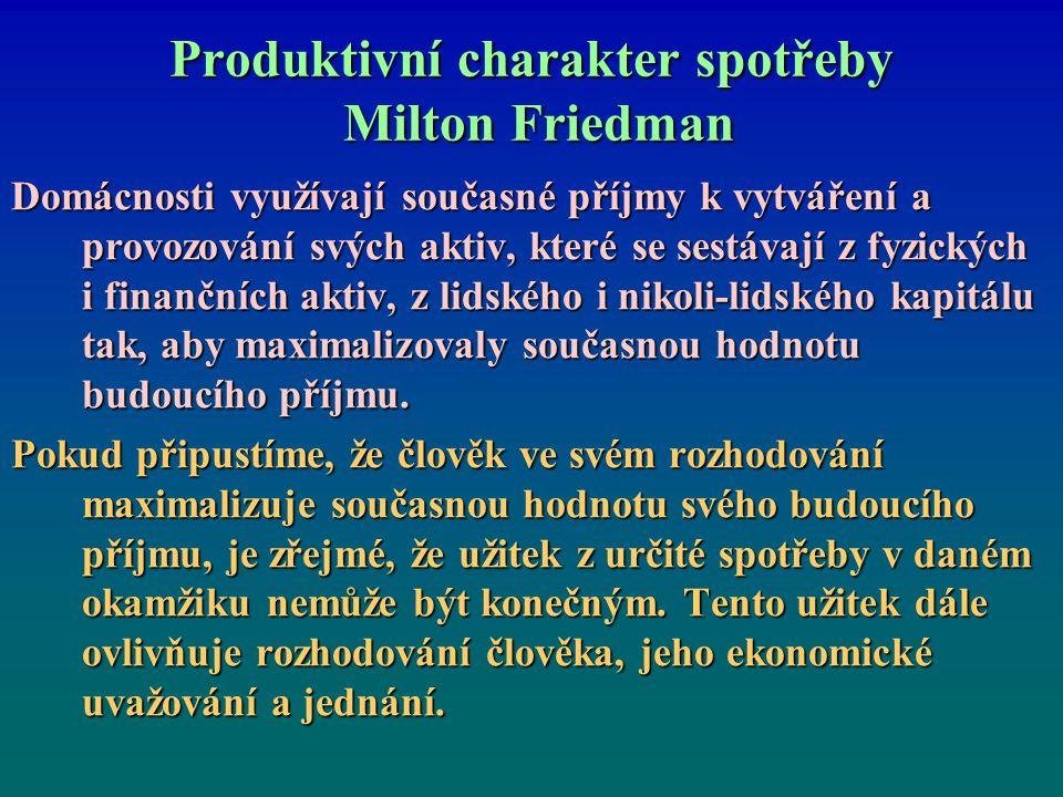 Produktivní charakter spotřeby Milton Friedman Domácnosti využívají současné příjmy k vytváření a provozování svých aktiv, které se sestávají z fyzick