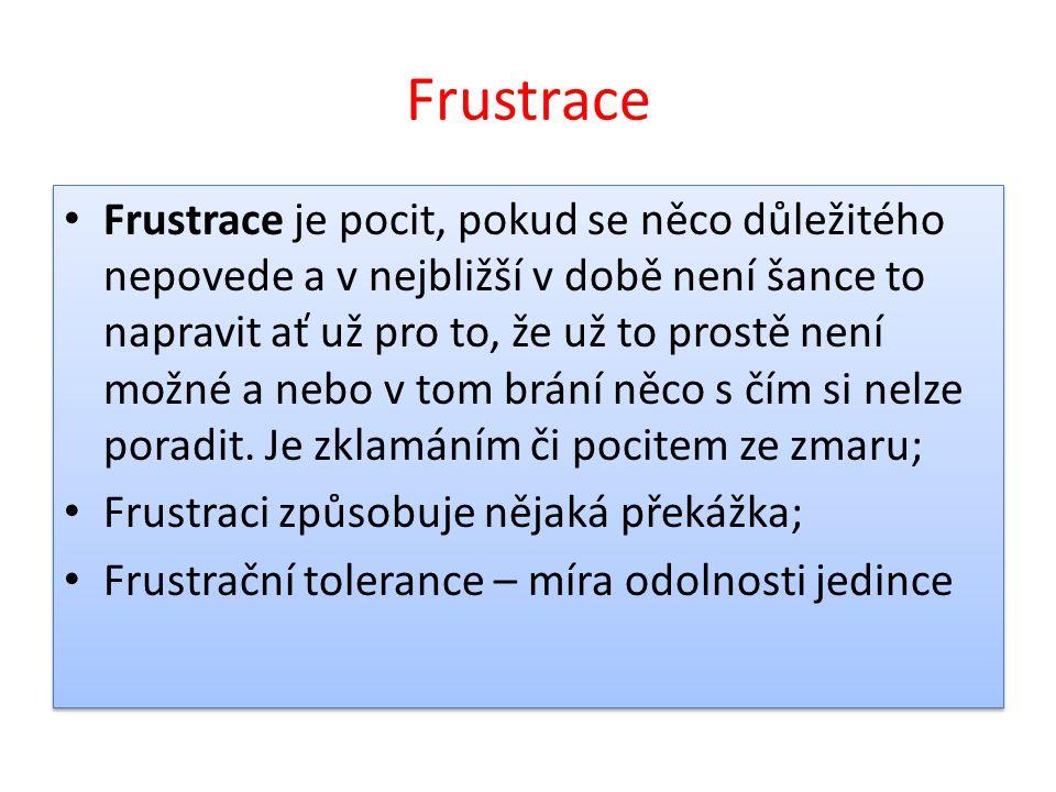 Frustrace Frustrace je pocit, pokud se něco důležitého nepovede a v nejbližší v době není šance to napravit ať už pro to, že už to prostě není možné a