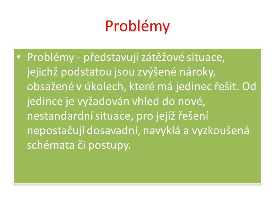 Problémy Problémy - představují zátěžové situace, jejichž podstatou jsou zvýšené nároky, obsažené v úkolech, které má jedinec řešit. Od jedince je vyž