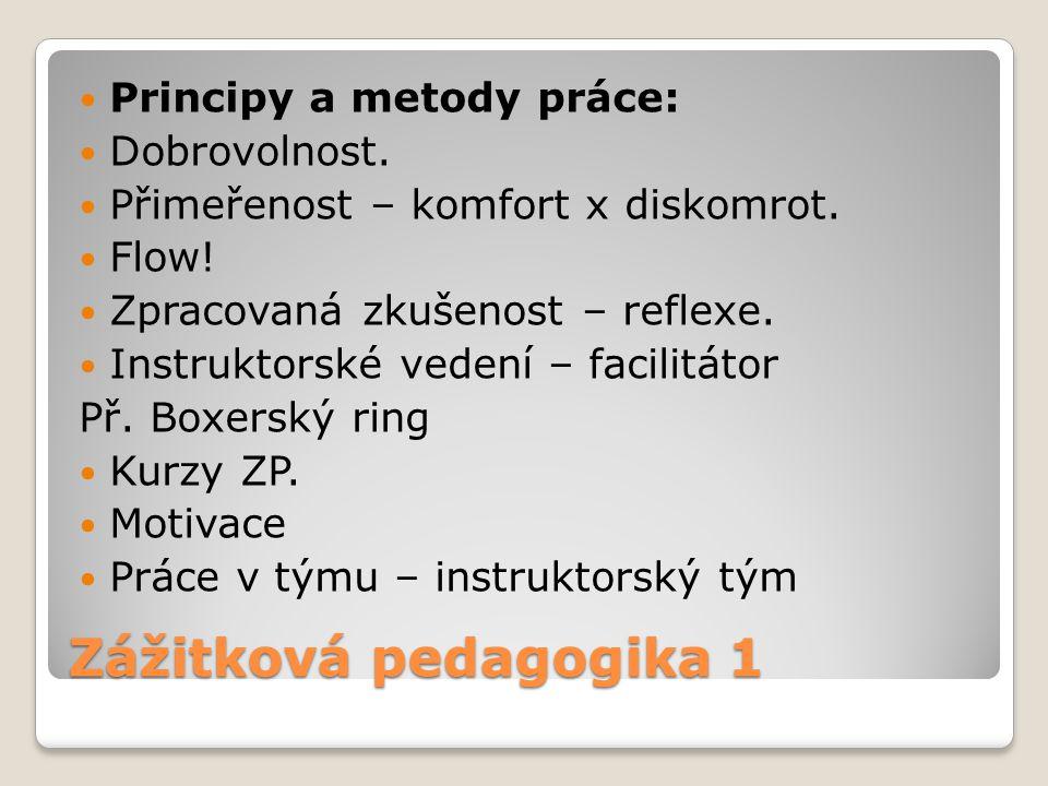Zážitková pedagogika 1 Principy a metody práce: Dobrovolnost. Přimeřenost – komfort x diskomrot. Flow! Zpracovaná zkušenost – reflexe. Instruktorské v