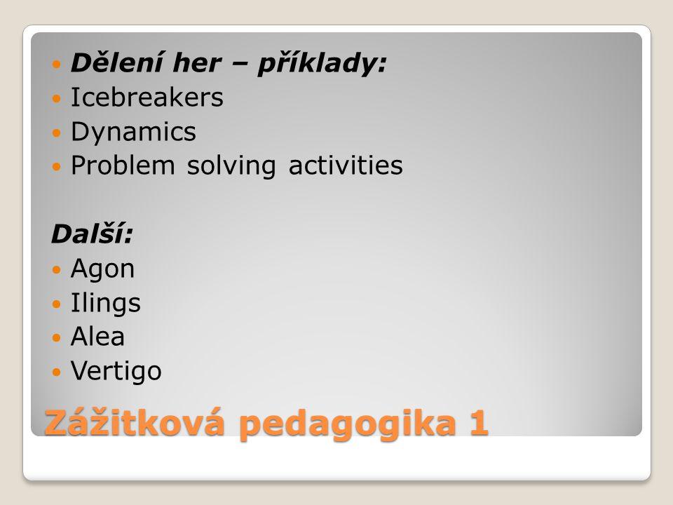 Zážitková pedagogika 1 Dělení her – příklady: Icebreakers Dynamics Problem solving activities Další: Agon Ilings Alea Vertigo