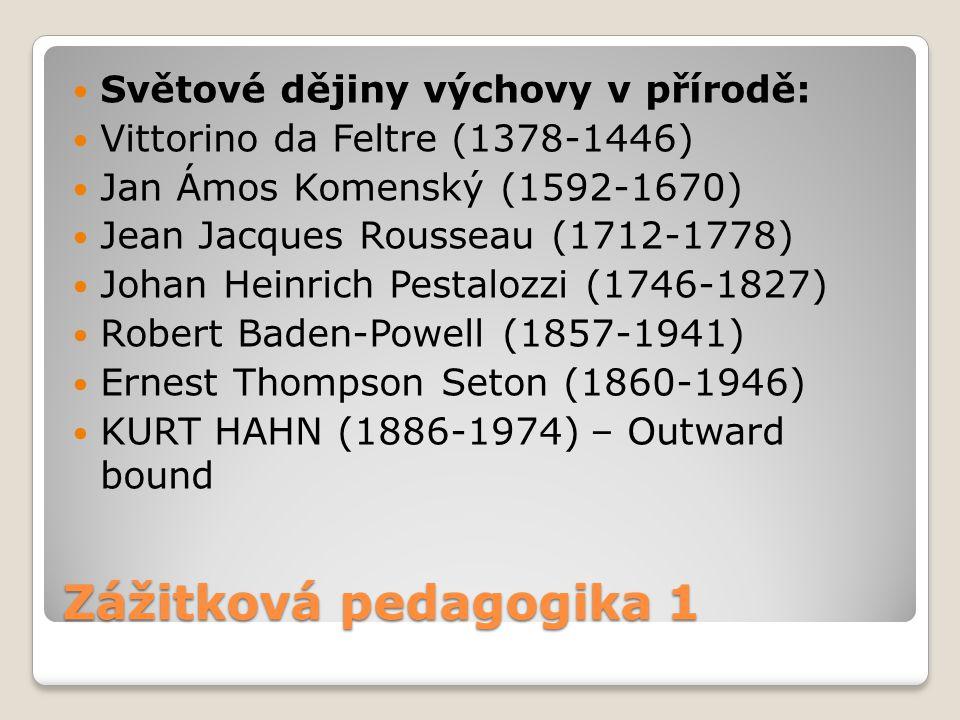 Zážitková pedagogika 1 Světové dějiny výchovy v přírodě: Vittorino da Feltre (1378-1446) Jan Ámos Komenský (1592-1670) Jean Jacques Rousseau (1712-177
