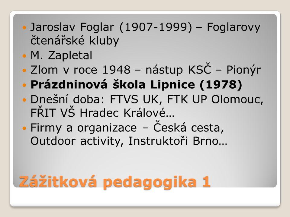 Zážitková pedagogika 1 Jaroslav Foglar (1907-1999) – Foglarovy čtenářské kluby M. Zapletal Zlom v roce 1948 – nástup KSČ – Pionýr Prázdninová škola Li