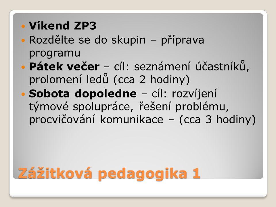 Zážitková pedagogika 1 Víkend ZP3 Rozdělte se do skupin – příprava programu Pátek večer – cíl: seznámení účastníků, prolomení ledů (cca 2 hodiny) Sobo