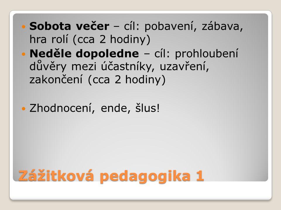 Zážitková pedagogika 1 Sobota večer – cíl: pobavení, zábava, hra rolí (cca 2 hodiny) Neděle dopoledne – cíl: prohloubení důvěry mezi účastníky, uzavře