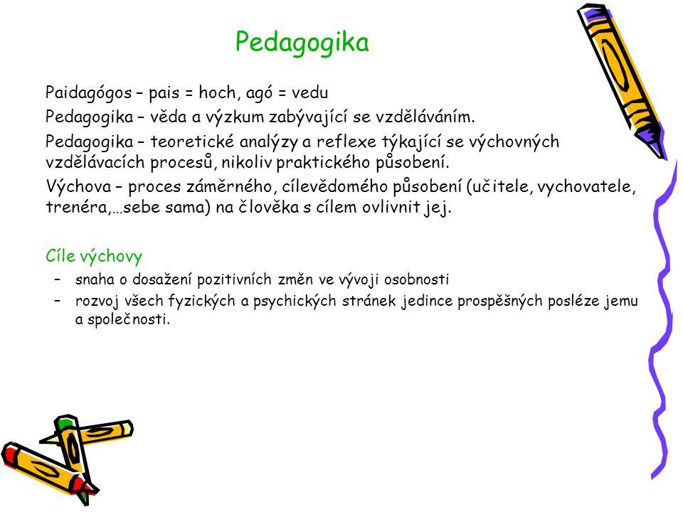 Pedagogika Paidagógos – pais = hoch, agó = vedu Pedagogika – věda a výzkum zabývající se vzděláváním. Pedagogika – teoretické analýzy a reflexe týkají