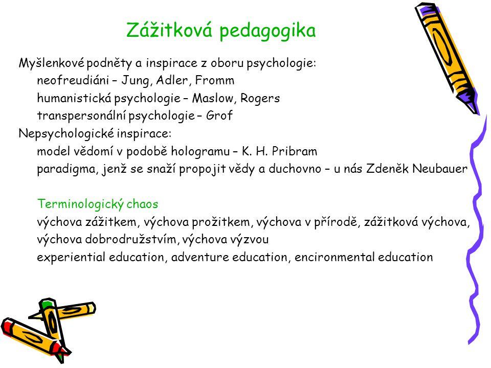 Zážitková pedagogika Myšlenkové podněty a inspirace z oboru psychologie: neofreudiáni – Jung, Adler, Fromm humanistická psychologie – Maslow, Rogers t