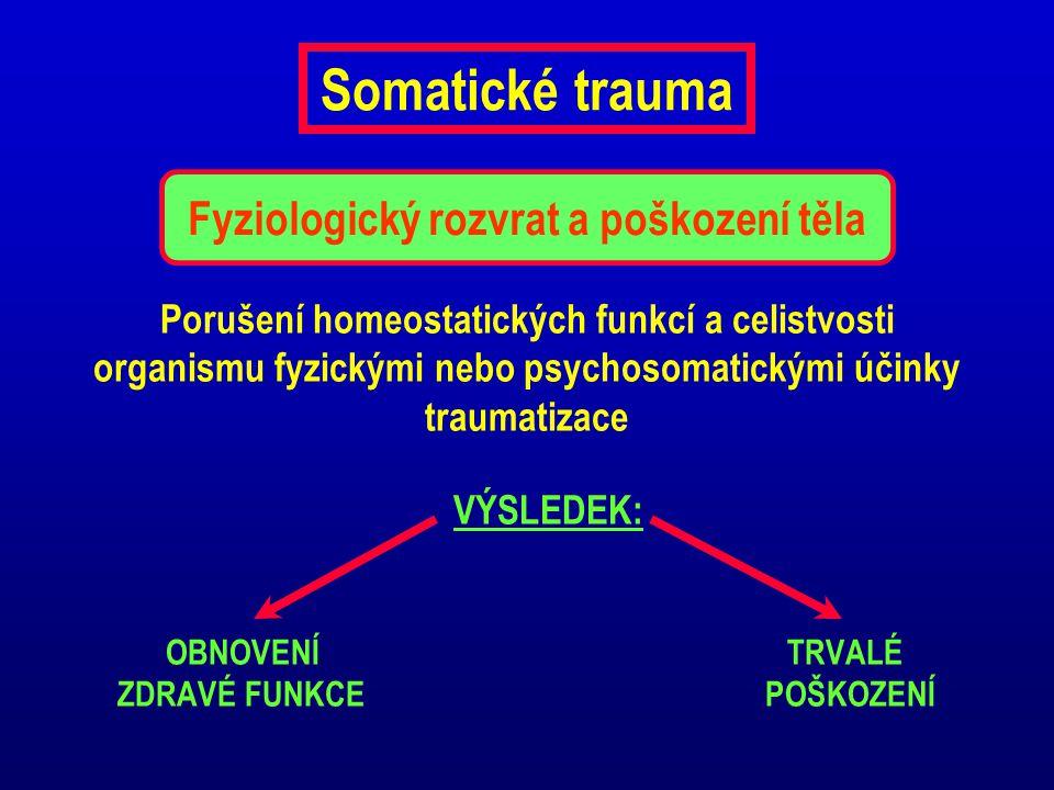 Somatické trauma Porušení homeostatických funkcí a celistvosti organismu fyzickými nebo psychosomatickými účinky traumatizace VÝSLEDEK: OBNOVENÍ TRVAL