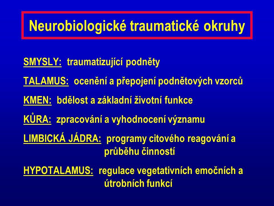 Neurobiologické traumatické okruhy SMYSLY: traumatizující podněty TALAMUS: ocenění a přepojení podnětových vzorců KMEN: bdělost a základní životní fun
