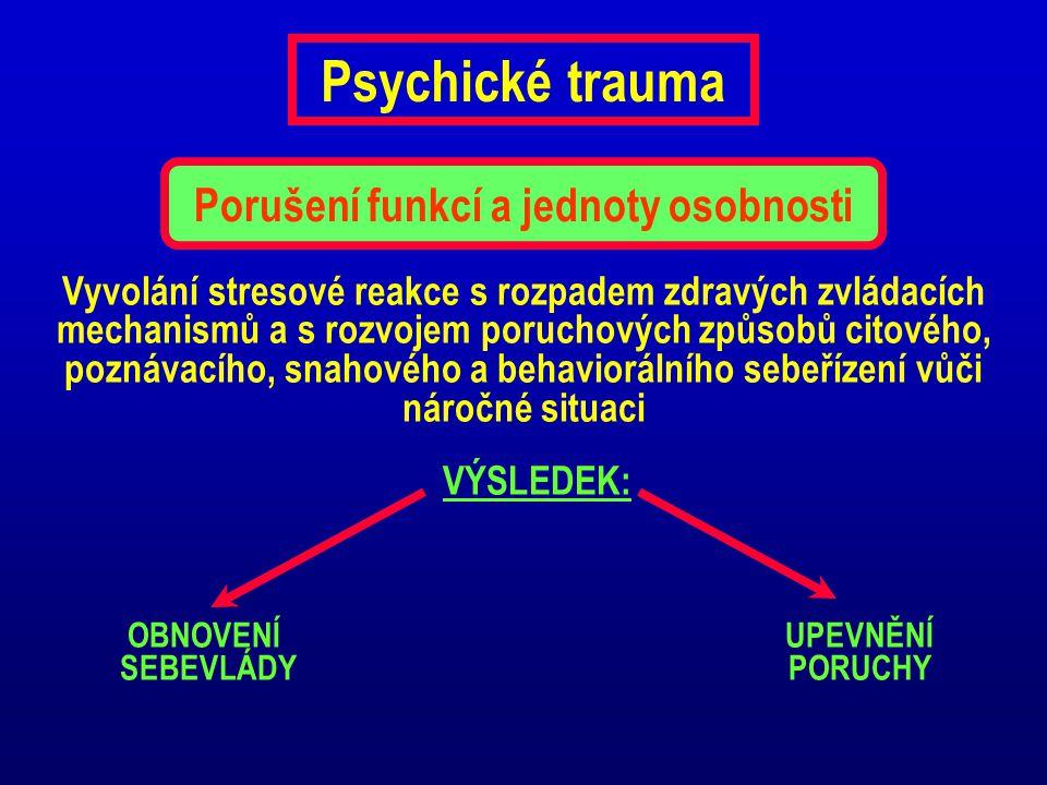 Psychické trauma Vyvolání stresové reakce s rozpadem zdravých zvládacích mechanismů a s rozvojem poruchových způsobů citového, poznávacího, snahového