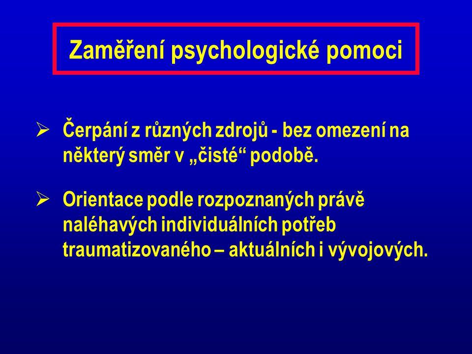 """Zaměření psychologické pomoci  Čerpání z různých zdrojů - bez omezení na některý směr v """"čisté"""" podobě.  Orientace podle rozpoznaných právě naléhavý"""